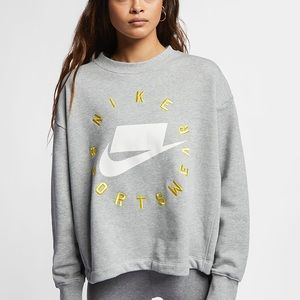 Nike gray nsw block logo crewneck sweatshirt